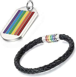 Aroncent Set bracciale in pelle, charm arcobaleno con targhetta, collana, 2-4 pezzi, da uomo e da donna, multicolore (ling...