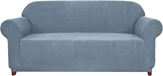 Subrtex 1-Piece Jacquard high Stretch Couch slipcover, Furniture Protector for Sofa, Spandex Washable 3 Seater Cushion Cover Coat (Sofa, Steel Blue)