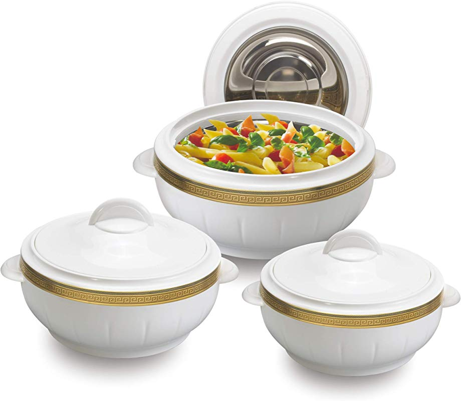Kitchen Cocina 3pcs Hot Pot Set Casserole Set 3 Sizes 1 6L 2 5L 3 5L Stainless Steel Inside Keeps Steaming Hot Durable Easy To Clean White