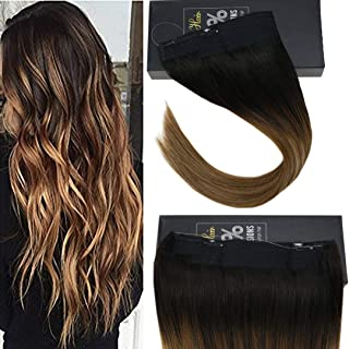 Sunny 12inch Remy Halo Extensions Human Hair Balayage Ombre Darkest Brown fading to Medium Brown with Caramel Blonde Invisible Wire Hair Extensions Real Hair 80gram