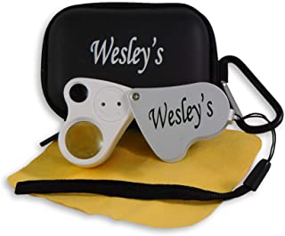 Jewelers Loupe 30X 60X - Jewelry Loop - loupe Magnifier LED Lighted with Case - for Geology, Gems, Gardening, Electronics, Industrial by Wesley's as you wish