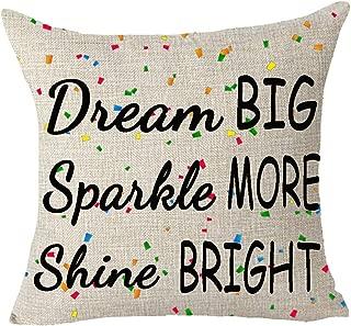 FELENIW Dream Big Sparkle More Shine Bright Colored Confetti Encouraged Quote Throw Pillow Cover Cushion Case Cotton Linen Material Decorative 18x18 inches