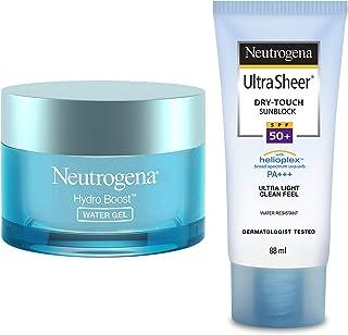 Neutrogena Hydro Boost Water Gel For All Skin Types, 50g & Neutrogena Ultra Sheer Dry Touch Sunblock SPF 50+ Sunscreen For...