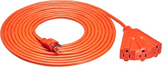 Amazon Basics 16/3 Outdoor Extension Cord with 3 Outlets, Orange, 20 Foot
