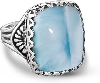 Sterling Silver Aqua Blue Larimar Gemstone Bold Ring Size 5 to 10
