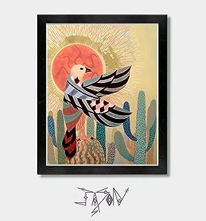 Rise With The Sun - by Artist Jason Smith - Hawk Print, Mexican Folk Art, Mexican, Southwestern Decor, Southwest, Arizona, Texas, New Mexico, Sonoran, Desert Art, Falcon, Horus Hawk, Egypt, Mexico