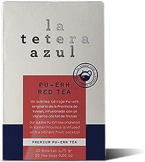 LA TETERA AZUL Té Rojo Pu Erh Infusionado Con Frutas. Infusión Adelgazante. Té Embellece. 20 Bolsitas De 1,75 Gramos.