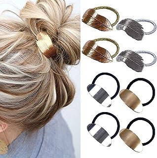 8PCS paardenstaart houder voor vrouwen meisjes, metalen elastische haren banden Wrap touw Lady hoofd accessoires cadeau