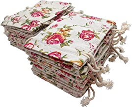 FASOTY 24 Pack Roses Pattern Double Drawstring Linen Bags Flower Burlap Bags with Drawstring Reusable Floral Burlap Gift Bags Jewelry Pouch for Wedding Party and DIY Craft 3.7 X 5.2 Inch