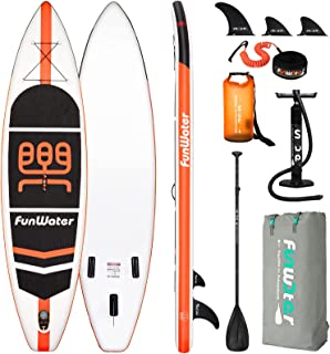 FunWater Stand Up Paddle Board 11'x33''x6'' Ultra-Light (20.4lbs) Inflatable Paddleboard with ISUP Accessories,Three Fins,...