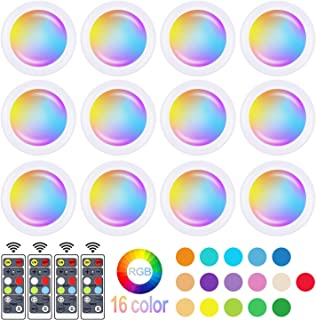 Wireless 16 Color Changing LED Puck Light 12 Pack LED Under Cabinet Lighting Closet Light Battery Powered Night Lights with Remote Control Dimmer & Timing Function