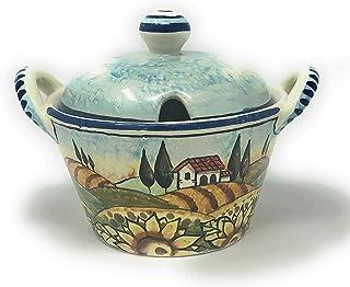 CERAMICHE D'ARTE PARRINI- Ceramica italiana artistica, portaformaggio o zuccheriera decorazione paesaggio girasoli, dipint...