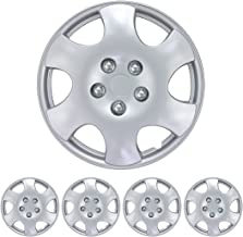 """BDK KT-1015- AMZKING Silver Hubcaps Wheel Covers for Toyota Corolla 15"""" – Four (4) Pieces Corrosion-Free & Sturdy – Full Heat & Impact Resistant Grade – Replacement, 4 Pack"""