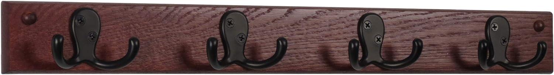 Wooden Award Ranking TOP3 Mallet 4 Double Prong Rail Hooks Coat Mahogany Black Ra