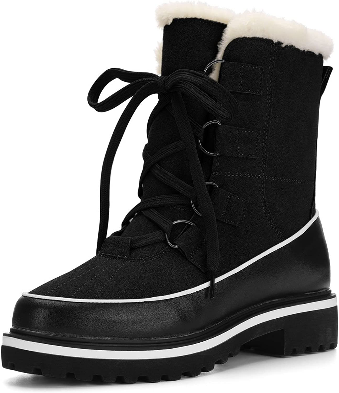 Allegra K Women's Fleece Lining Lace up Duck Winter Snow Boots