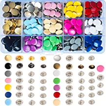 150 Sets Snap Fasteners Kit 12.5mm Metal Snap Buttons Set Press Studs with 4 Pcs Fixing Tools for Thin Leather Bracelet Shirt Skirt Jacket Jeans Bags Repair 15 Colors (150Pcs/ Sets,15 Color)
