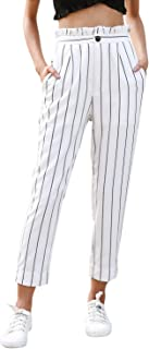 Women's Casual High Waisted Stripes Pants with Pockets White US 10