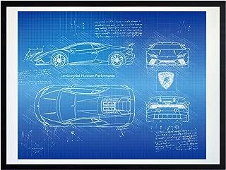 DolanPaperCo #418 Lamborghini Huracan Performante (2017) Art Print, da Vinci Sketch - Unframed - Multiple Size/Color Options (11x14, Blueprint)