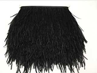 CENFRY Pack of 2yards Ostrich Trims Fringe Feathers Dress Sewing Crafts Costumes Decoration (Black)