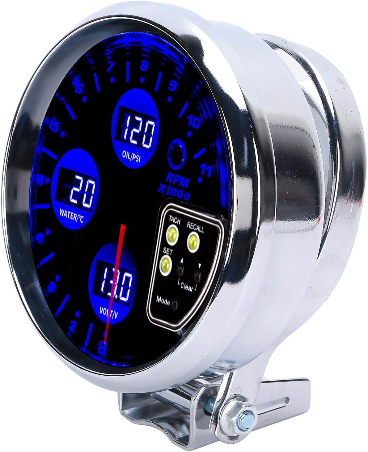 Medidor 4 en 1, puntero rojo con retroiluminación azul 5 en 4 en 1 medidor de presión de aceite de temperatura del agua voltímetro tacómetro para 12 V 4/6/8 cilindros