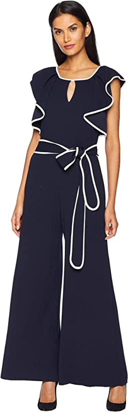 Contrast Piped Ruffle Sleeve Jumpsuit