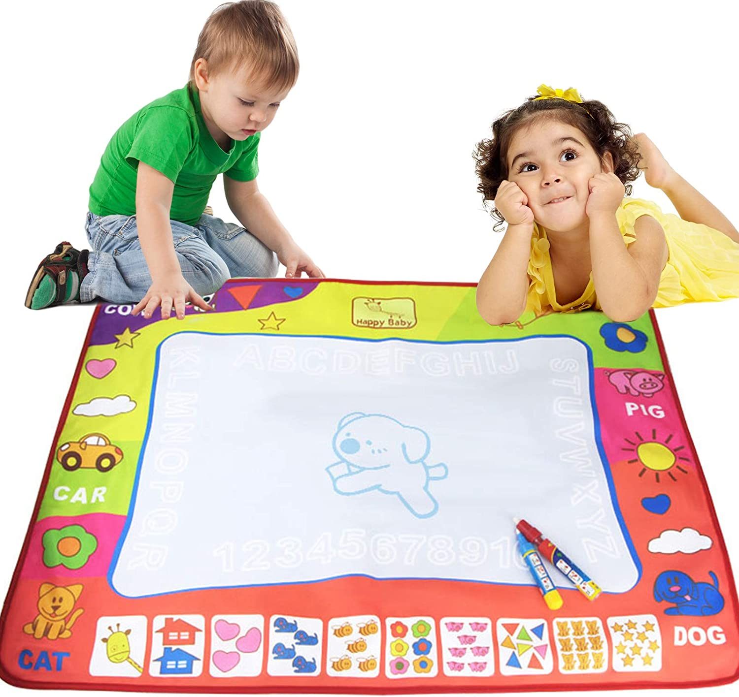 32x24inch 4 Color Water Writing Painting Board Reusable Large Mat with Portable Storage Bag and 2 Painting Pens for Age Over 3 Year Old Magic Doodle Drawing Mat for Kids