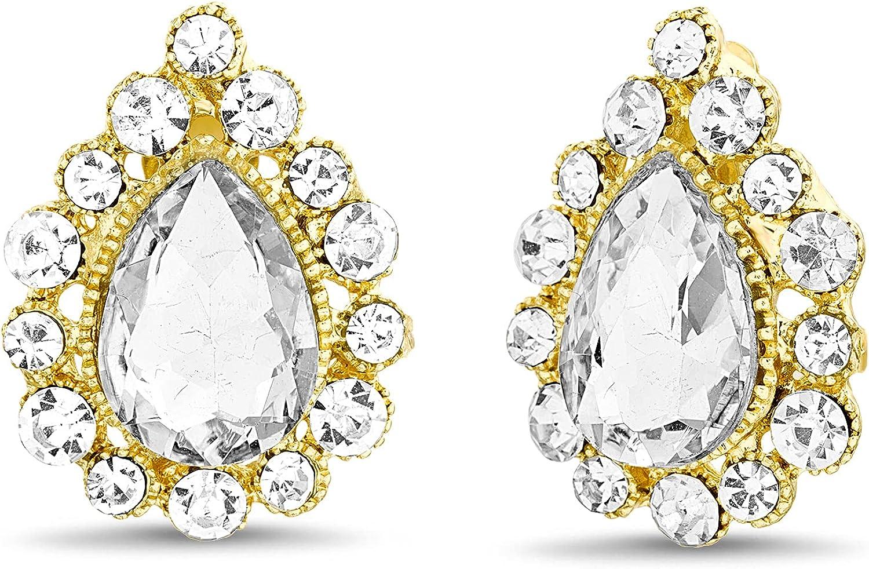 Badgley Mischka Rhinestone Teardrop Yellow Clip On Stud Earrings for Women