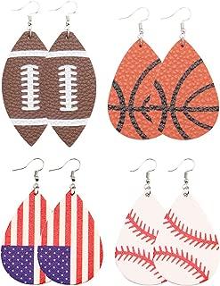 Baseball Leather Earrings for Sport Lover Lightweight Faux Leather Teardrop Earrings Handmade Unique Ball Leather Earrings for Women 4 Pairs