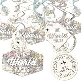 World Awaits - Travel Themed Party Hanging Decor - Party Decoration Swirls - Set of 40