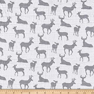 Shannon Fabrics Shannon Premier Prints Embrace Double Gauze Deer To Me Steel Fabric By The Yard