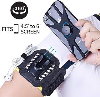 MIJOBS Brazalete Deportivo, Brazalete para el Antebrazo Transpirable con 360° Rotación y Bolsillito de Llaves para iPhone X/XR/7/8 Plus, Samsung Galaxy S8/S9/S10 Plus/S20 Plus de 4
