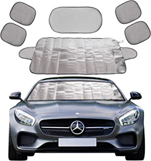 X XINDELL Car Windshield Snow Cover 6Pack Ice Snow Frost Cover for Windscreen Car Sunshades Winter Summer Damage Free Covers Fits for Most Standard Cars (Standard 59 x 27 inches)
