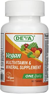 Deva Nutrition Vegan Multivitamin & Mineral Supplement ONE Daily - 90 Coated Tablets