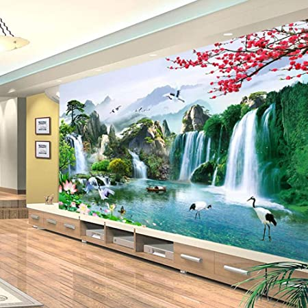 Mural Wallpaper Chinese Style 3d Waterfalls Nature Landscape Wall Painting Living Room Tv Sofa Home Decor 150x120cm Amazon Com