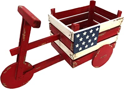 "Alpine Corporation BKY102HH American Flag Tricycle Wood Planter, 11 Inch Tall, 11"", Red/White/Blue"