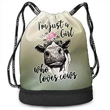 I M Just A Girl Who Loves Cows Flower Drawstring Backpack Sport Bag Women Men