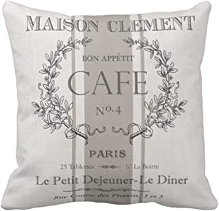 Emvency Throw Pillow Cover Modern Vintage French Cafe Decorative Pillow Case Paris Home Decor Square 18 x 18 Inch Cushion Pillowcase
