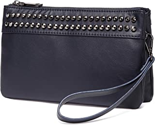 Wristlet Clutch Purses,VASCHY SAC Large Studs Soft Faux Leather Crossbody Evening Clutch Wallet for Women