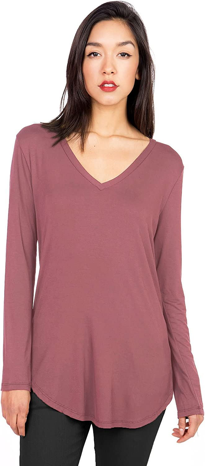 Emmas Closet Women's Basic Long Sleeve VNeck Top