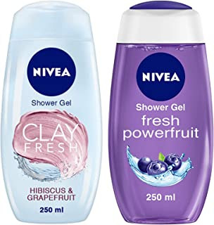 NIVEA Shower Gel, Fresh Hibiscus & Grapefruit Clay Body Wash, Women, 250ml & NIVEA Shower Gel, Power Fruit Fresh Body Was...