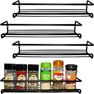 BELLE VOUS 4 Pack Black Wall Mount Spice Rack Organizer for Cabinet - Single Tier Hanging Organizers for Pantry - Seasoning Organizer - Pantry Door Organizer - Spice Storage Stand