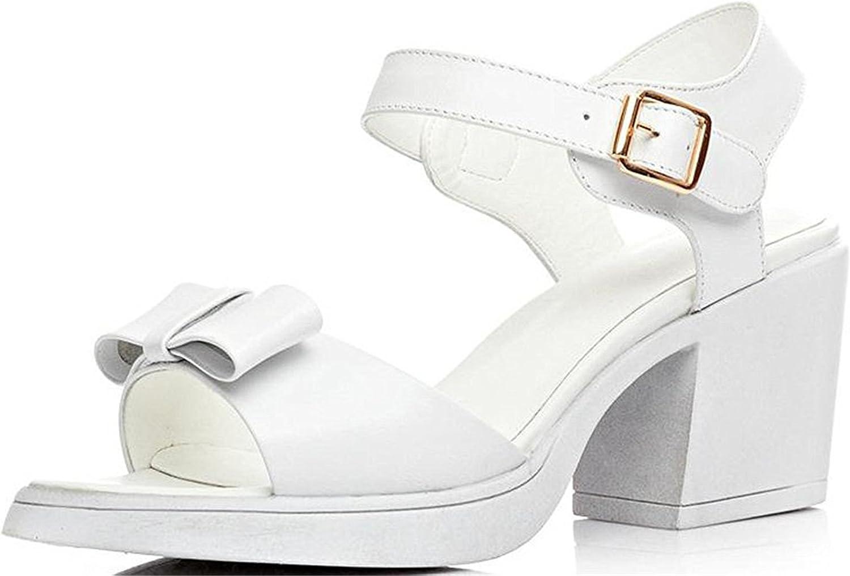 Garyline Women Chunky Kitten Heel Slingback Bow Platform Sandals