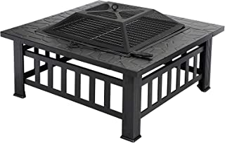 Outdoor Fire Pit, 3-in-1 Metal Square Firepit Patio Stove Wood Burning BBQ Grill Fire Pit Bowl for Heating,Cooling Drinks ...