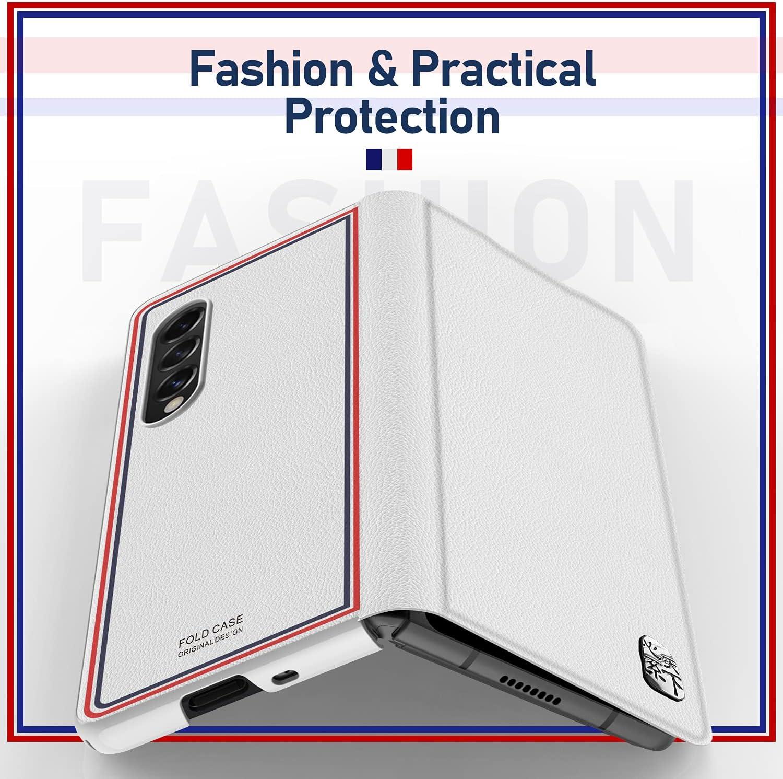 CENMASO Designed for Samsung Galaxy Z fold 3 Case, Ultra-Thin Leather Magnetic Flip Bumper Case for Galaxy z Fold 3 (2021)- White