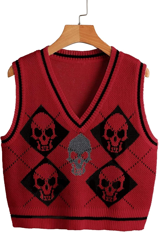 SAFRISIOR Women Y2K Argyle Skull Pattern Knit Sweater Vest Loose V Neck Sleeveless Gothic Cropped Tank Top Pullover