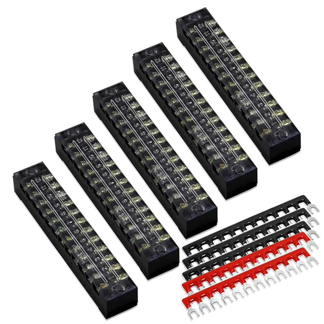 10pcs(5 Sets) 12 Positions Dual Row 600V 15A Screw Terminal Strip Blocks with Cover + 400V 15A 12 Positions Pre-Insulated Terminal Barrier Strip (Black/Red) by MILAPEAK