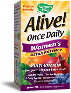 Nature's Way Alive! Once Daily Women's Multivitamin, Ultra Potency, Food-Based Blends (240mg per serving), 60 Tablets