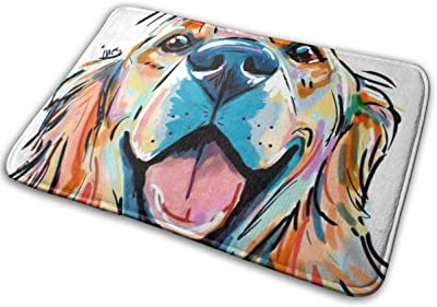 Golden Retriever Bath Mat Watercolor Dog Non Slip Super Bathroom Rug Indoor Carpet Doormat Floor Dirt Trapper Mats Shoes Scraper 24x16 Inch