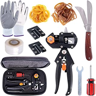 Swpeet 190Pcs 2-in-1 Garden Grafting Tools Kit, Including Garden Pruning Tools with 3 Extra Blades Grafting Tapes Rubber B...
