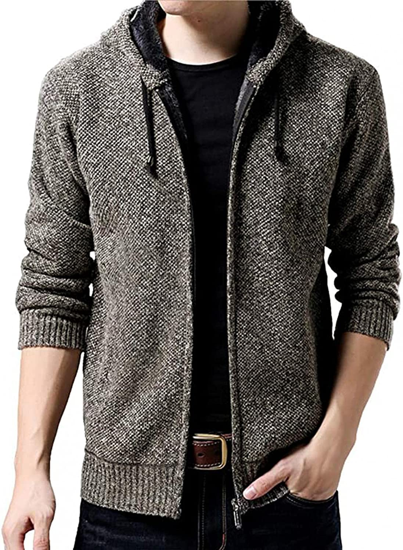 VEKDONE Men's Fleece Full Zip Hooded Sweatshirt Long Sleeve Heavyweight Sherpa Lined Knit Slim Fit Open Front Cardigans